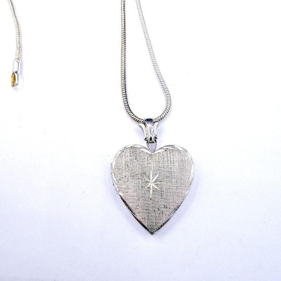 Silver Heart Locket, Starburst Sterling Silver Loc