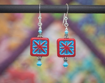 e1891092e Quilt block earrings, Quilt lovers earrings, quilter's gift jewelry, Hawaii quilt  earrings, quilt compass earrings, quilters gift earrings