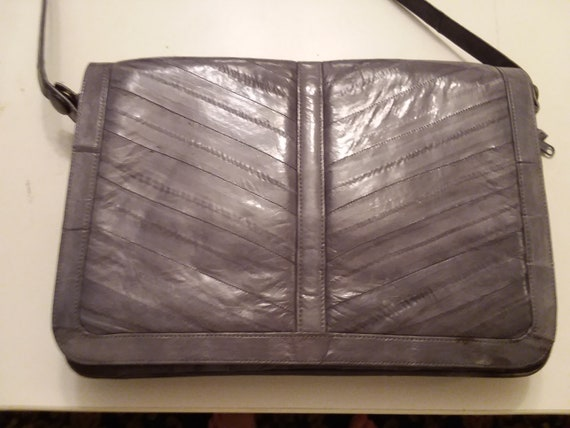 Genuine Eel Skin Leather Billfold Wallet Purse Dark brown