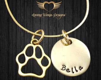 Personalized Pet Necklace, gold necklace, pet necklace, pet jewelry, dog name, cat name, dog memorial, dog jewelry, deceased pet
