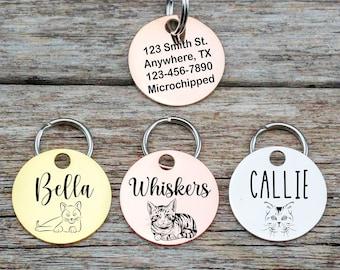 Pet ID Tag \u2022 Custom Pet Identification Tag Pet Personalized Cat Tag \u2022 Dog Pet Name New Puppy Gift \u2022 Silver Tag Copper Name Number