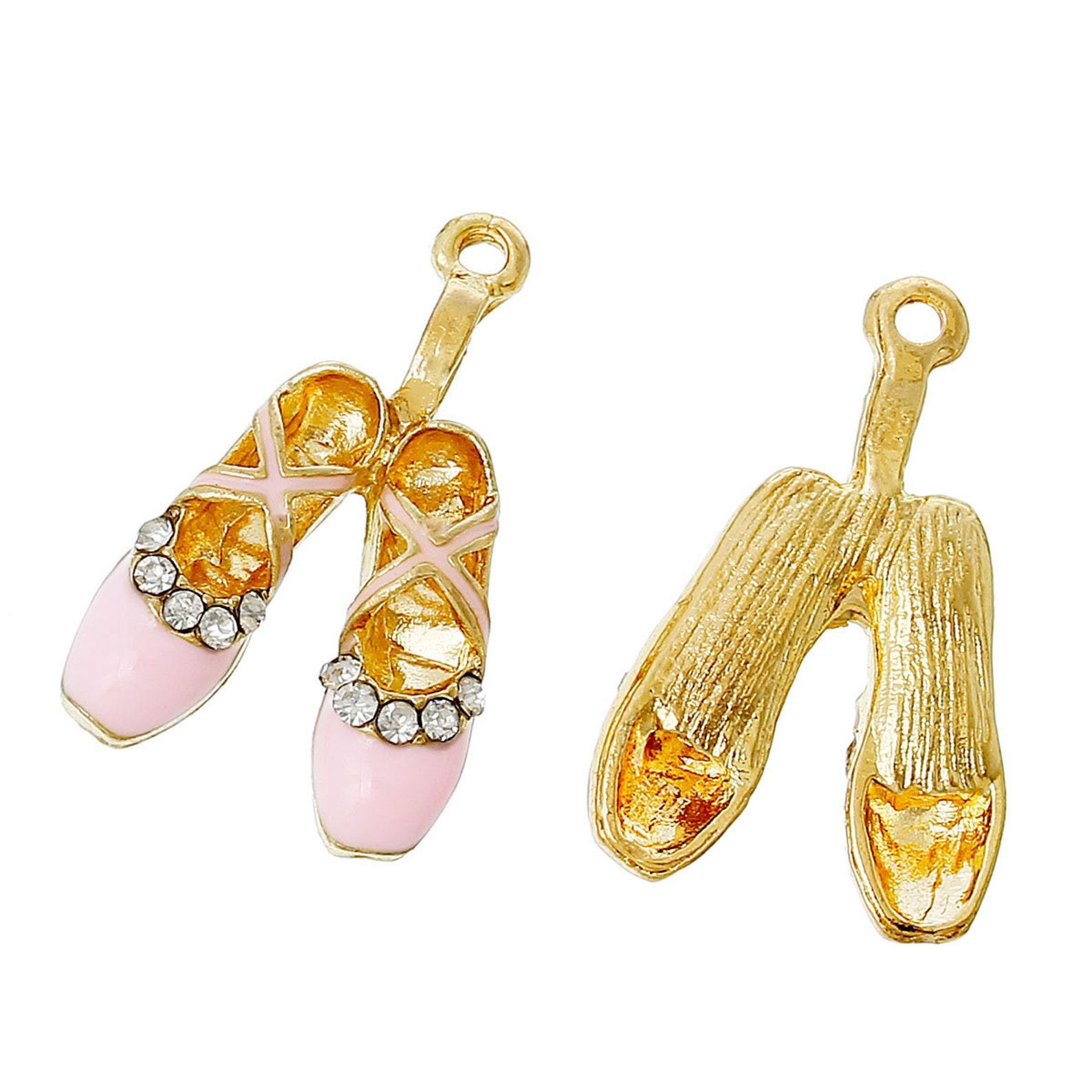 1 ballet shoe charm, pointe shoe pendant, pink enamel ballet shoe, usa charms