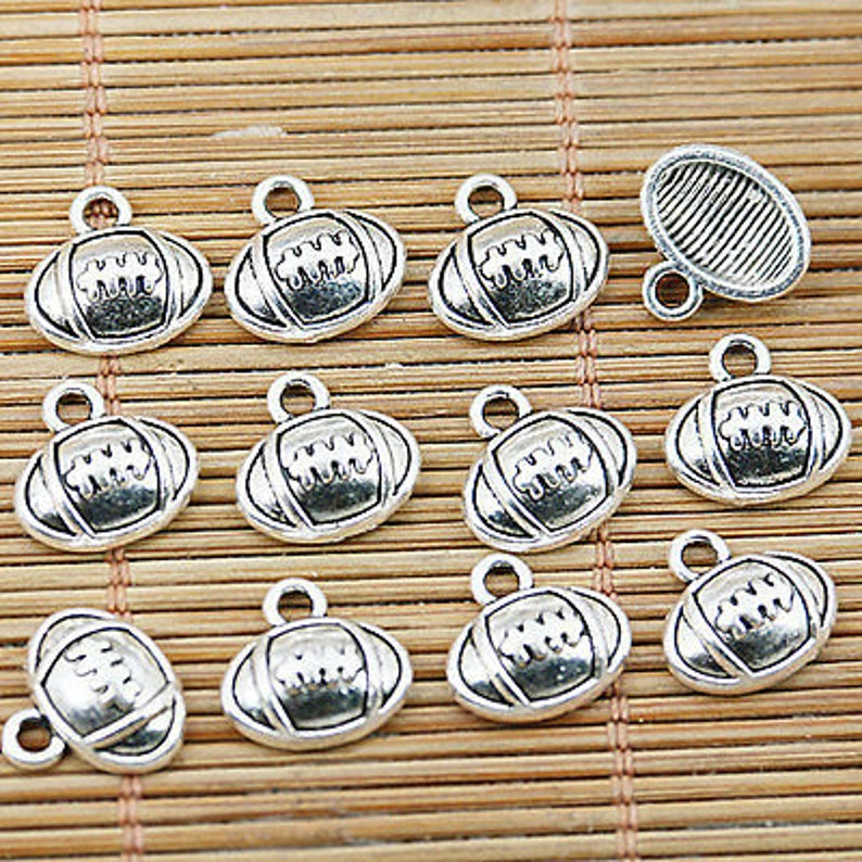 Football pendants rugby 6 Silver Football Charms USA charms sports charms Findings