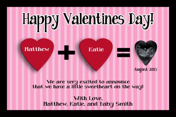 Valentine S Day Pregnancy Announcement Card You Print Etsy