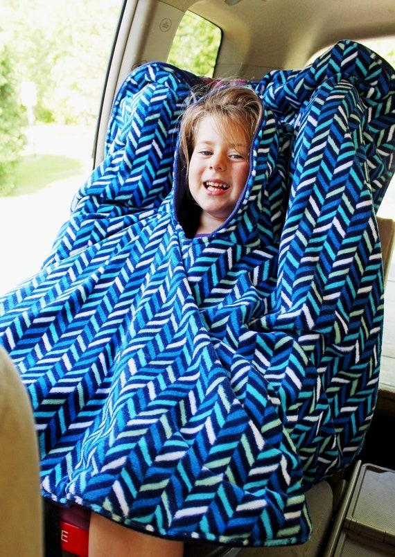 Minky Car Seat Poncho Hooded Arrow Archer GrayWhite Navy Blue Boy CarSeat Cape ToddlerChildKid