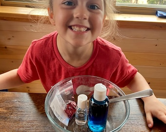 Patriotic DIY Slime Making Kit - Blue and Red Glitter Slime Kit -  4th of July Activity for Kids