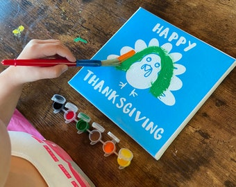 Personalized Thanksgiving Craft Kit for Kids - Pumpkin Canvas DIY Painting Kit - Easy Kids Craft Kit