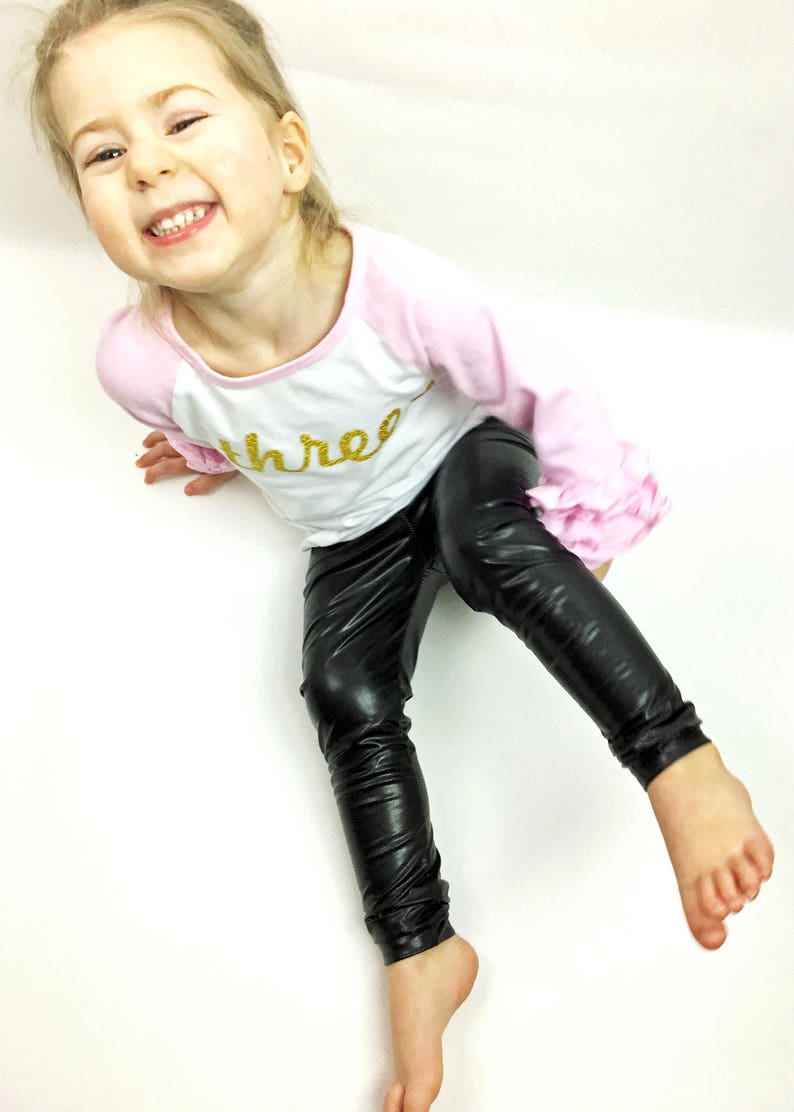 89f9e2b05d3fc Faux Leather Leggings Toddler Baby Girl Black Leather | Etsy