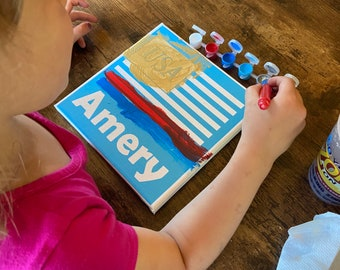 Personalized DIY 4th of July Craft Kit for Kids - Children's Patriotic Activity - Easy Kids Craft Painting Kit