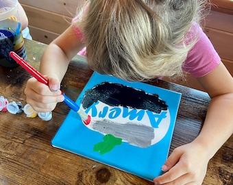 Personalized Halloween Craft Kit for Kids - Pumpkin Canvas DIY Painting Kit - Easy Kids Craft Kit