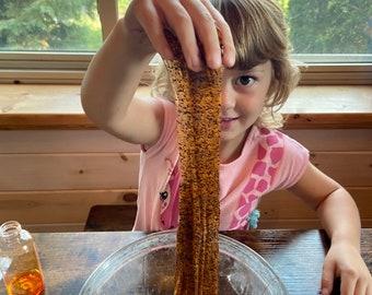 Halloween DIY Slime Making Kit - Orange and Black Glitter Slime Kit - Halloween Gift or Activity for Kids