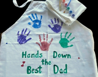 Father's Day Personalized Craft Kit - Handprint Apron for Dad - Children's Father's Day Gift