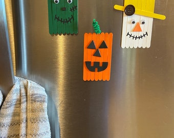 Halloween Craft Kit for Kids - Pumpkin Scarecrow And Frankenstein Magnets - Halloween activity for kids