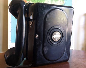 Rare and Wonderful Vintage 1920s-30s Art Deco Automatic Electric Monophone Hanging Wall Telephone