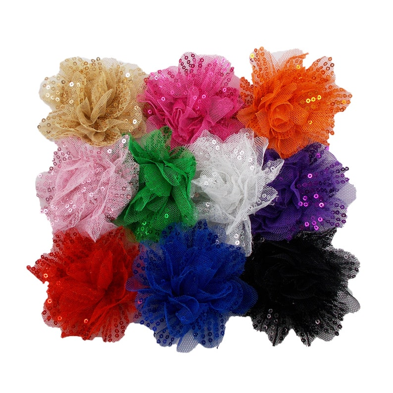 Sequin /& Tulle Flower STF-006 Royal Blue