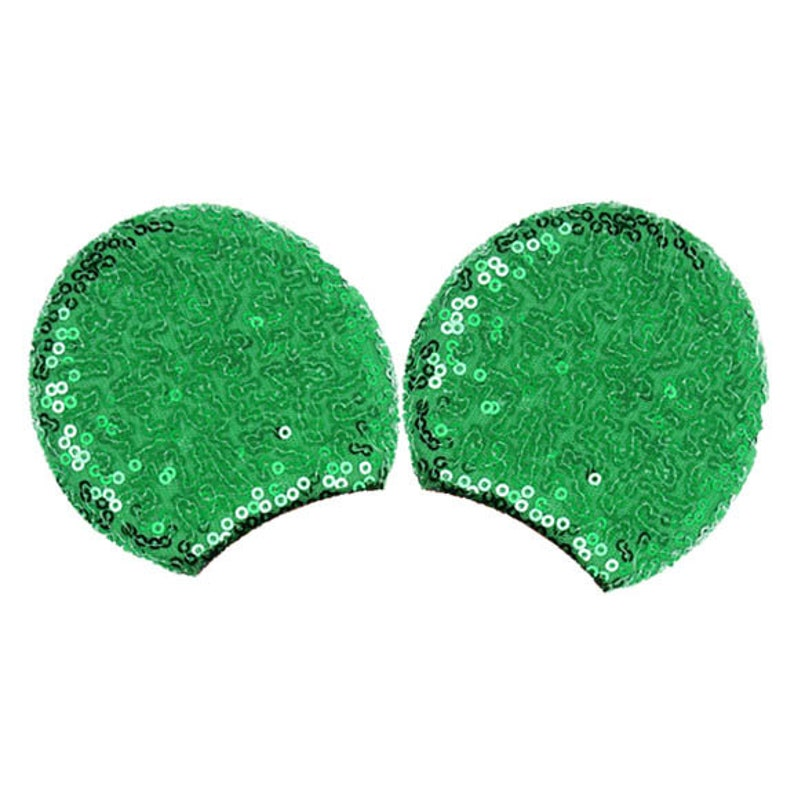 Sequin Padded Mouse Ears Large Green MMEX-010
