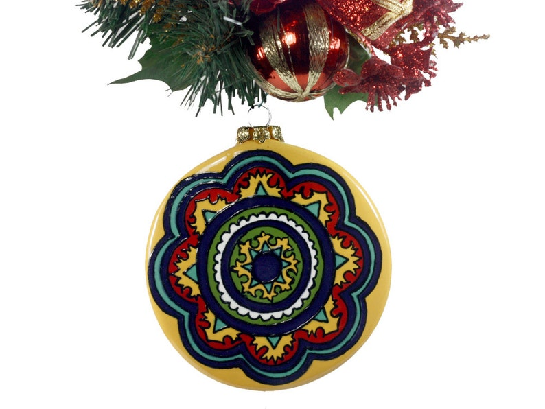 Talavera Ornament Mexican Ornament Spanish Ornament Mexican Christmas Spanish Christmas Classic Medallion