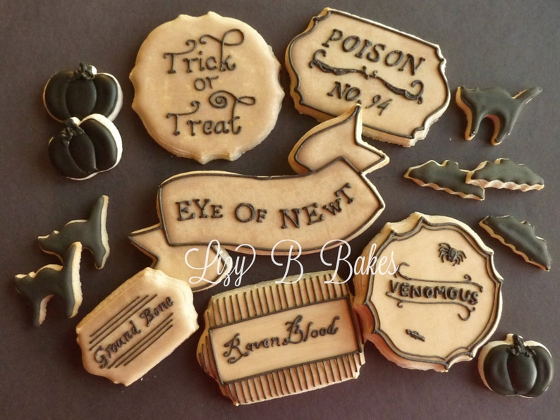 Antiqued Potion Label Halloween Cookies featured in Better image 0