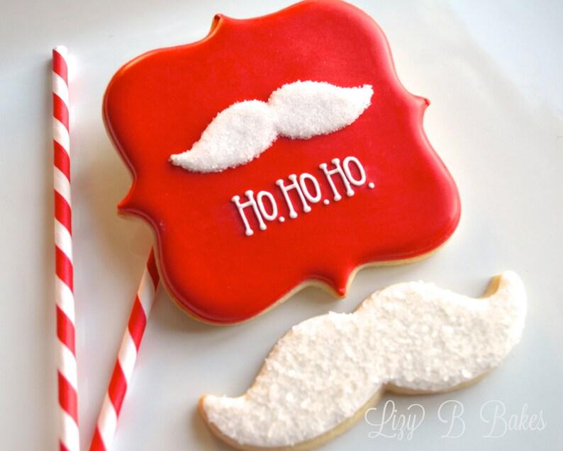 Ho-Ho-Ho Santa's Mustache Christmas Cookies image 0