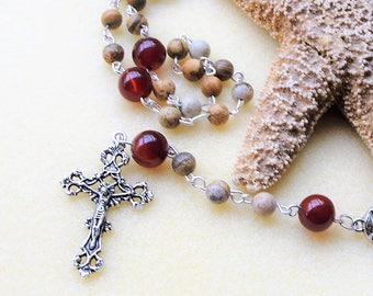 Cathoilc Rosary Beads,Mens Rosary,Communion Rosary,Rosary,Confirmation Rosary,Boys Rosary,Mans Rosary,Rosary Bead Necklace,Prayer Beads,Gift