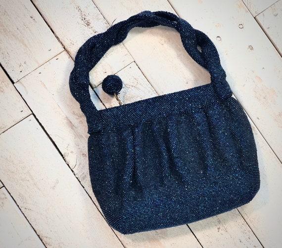 Vintage 1960s evening bag • midnight blue Beaded e