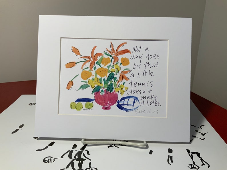 New Art print hand-Signed by Sally Huss Tennis Makes a image 0