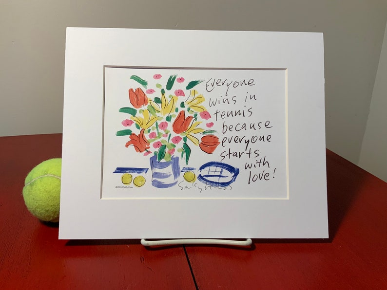 New Art print hand-signed by Sally Huss Tennis Love matted image 0