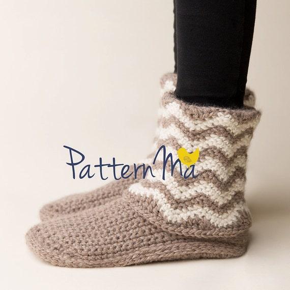 Häkeln Sie Damen Hausschuhe Stiefel Chevron Größe 5-12 | Etsy