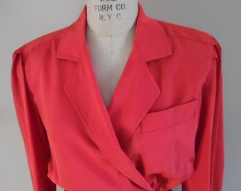 Red Shirtwaist Dress; Vintage 1980s Christmas Red Dress; Long Sleeve Mock Wrap Secretary's Career Dress by MS Chaus; Red Wiggle Dress
