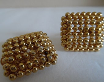 Earrings, Clip-On, Vintage 1980s F.O. Inc. (Fernando Originals) Gold Tone, Gold Plated Beads in a Square Clip on Earrings