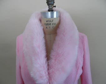 48092c389c Terry Cloth Robe with Faux Fur Trim