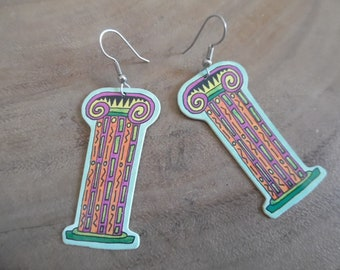 e6d04598c Vintage 1989 Plastic Column Art Earrings; Column Drop earrings, Travel,  Souvenir Earrings, Comical Travel Earrings; Colorful Pillar Earrings