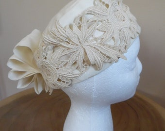 47770c286ed Vintage 1960s Fancy Cream Turban  Turban