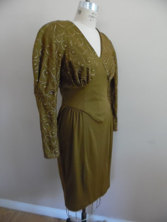 Vintage 1980s Khaki Colored Dress with Leg o Mutt… - image 3