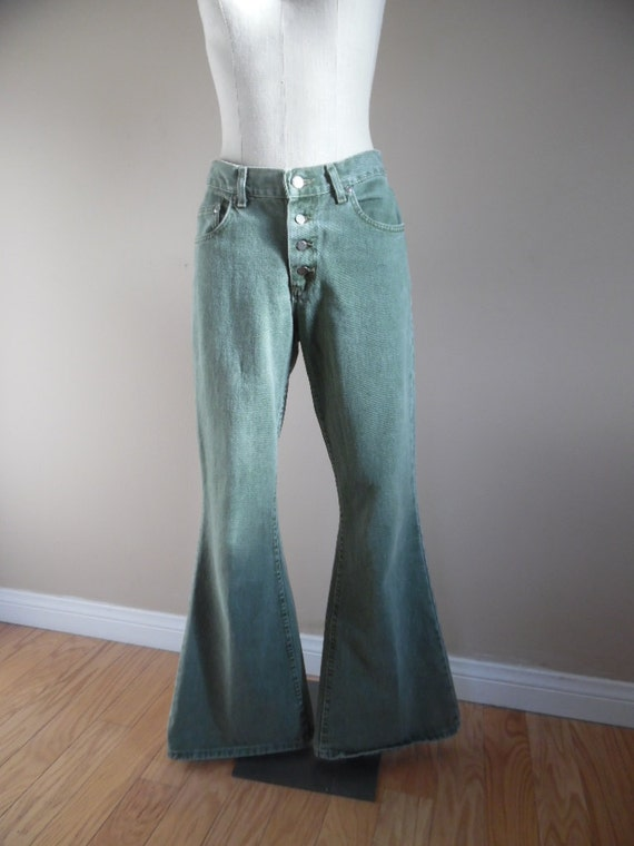 Vintage Late 1970s or early 1980s Green Jeans Ladi
