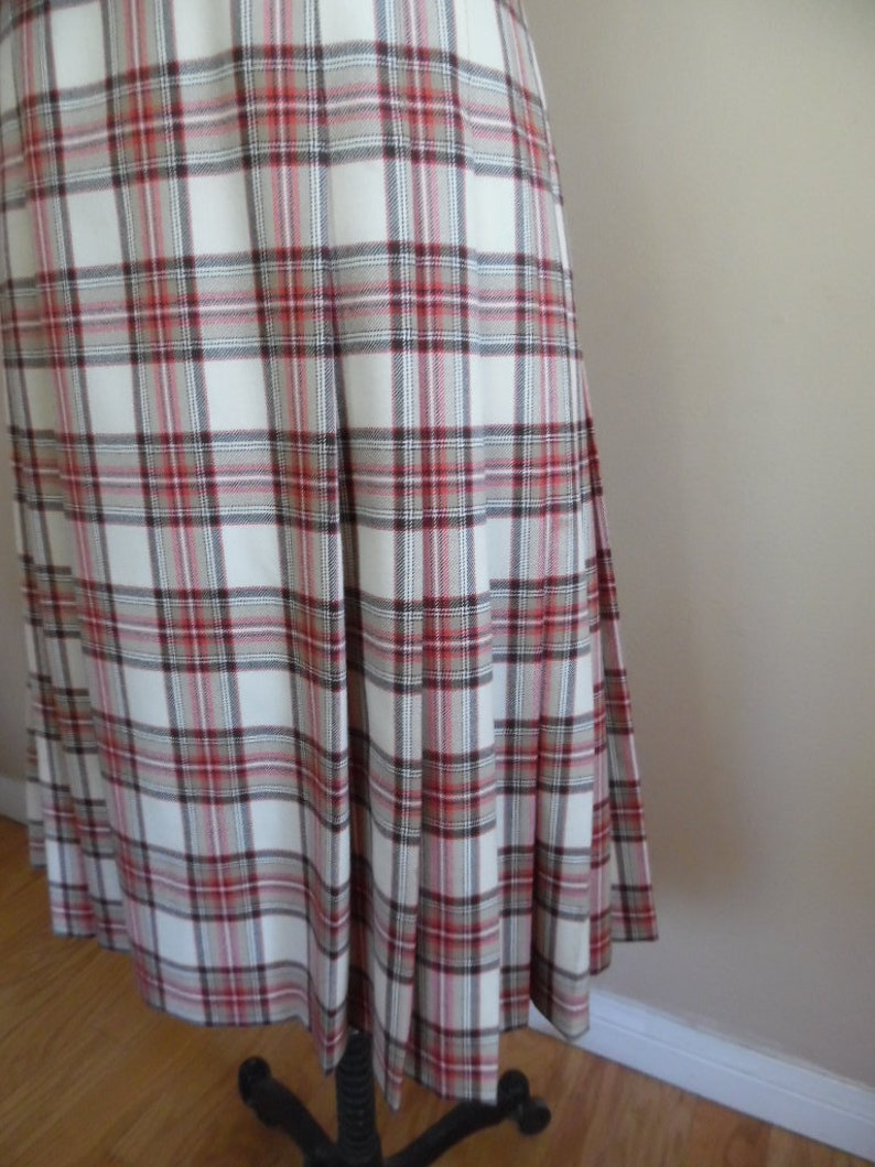 Vintage 1990s Wool Plaid Skirt by Pendleton Red Brown and Cream Side Pleated Skirt