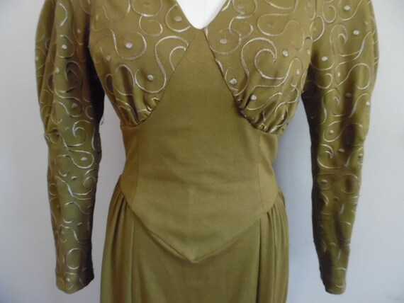 Vintage 1980s Khaki Colored Dress with Leg o Mutt… - image 8