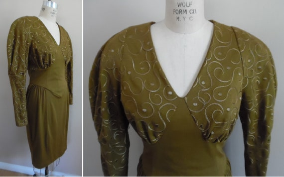 Vintage 1980s Khaki Colored Dress with Leg o Mutt… - image 1