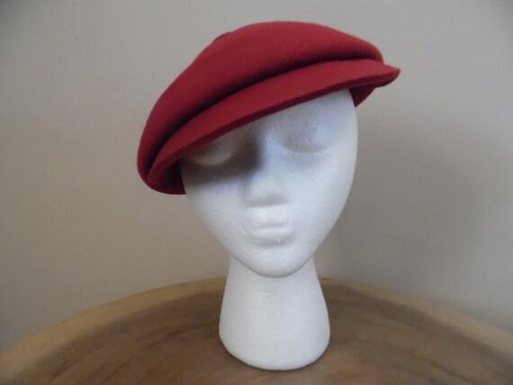Vintage Lancaster Newsboy Cap in Burgundy 100% Woo