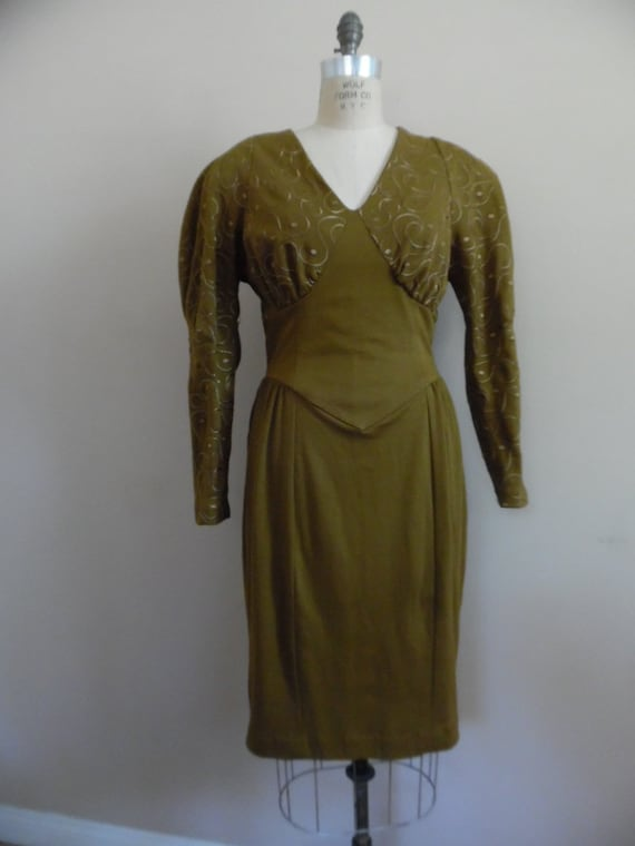 Vintage 1980s Khaki Colored Dress with Leg o Mutt… - image 2