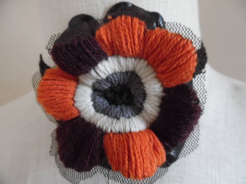 Flowers That Dont Fade Handmade Floral Choker Rust Brown Gray Black White Embroidery On Netting Wblack Gimp Ribbon By Sofi Handknits
