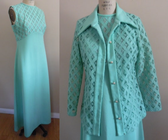 Vintage 1960s Pillow Mint Green 2 Pc Evening Dress
