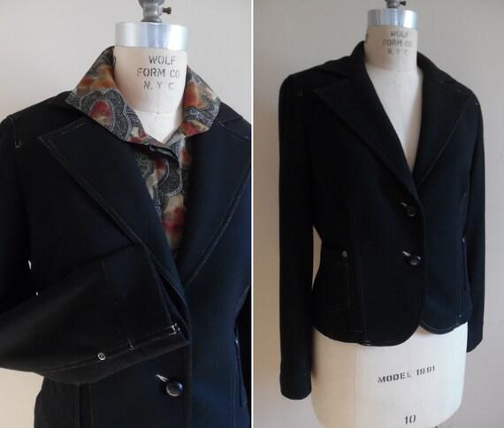 Vintage 1990s Black Wool Short Cropped Jacket Blaz