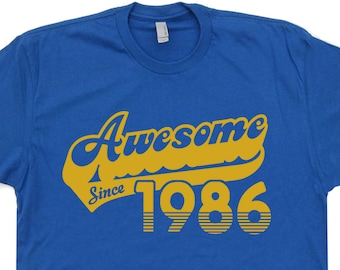 Awesome Since 1986 T Shirt 35th Birthday Shirt For Men Gift Saying Funny Mens Womens Born In 1986 Birthday T Shirt Vintage 80s Retro T Shirt
