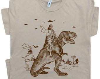 Jesus Riding Dinosaur T Shirt UFO T Shirt Funny T Shirts Offensive T Shirt Cool T Shirts Novelty Shirts Charles Darwin For Men Women Tee