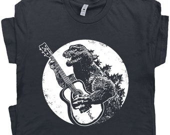 Guitar T Shirt Funny Vintage Guitar Shirt Godzilla Playing Guitar Cool Graphic Tee Acoustic Electric Bass Player For Men Women Rock Band