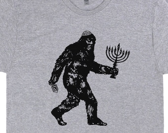 81365a9f Funny Jewish Shirts Cool Bigfoot T Shirts Hanukkah Shirts Funny Jewish  Saying Graphic Humor Tees Gift For Mens Womens Kids Menorah Dreidel