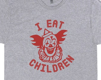 Scary Clown T Shirt Pennywise The Horror Movie Shirts Funny Weird Tees I  Eat Children Vintage Saying Graphic for Mens Womens Kids Creepy 6407047e9