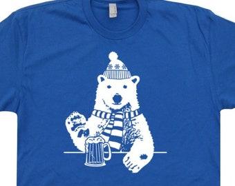 e2288e2e Polar Bear T Shirt Polar Bear Shirts Beer Shirts Drinking Beer Shirts  Alaska North Pole Shirts Vintage Ski T Shirts Wyoming Utah Colorado T