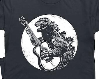 e0c99ac33 Guitar T Shirt Vintage Guitar Shirts Godzilla Playing Guitar Graphic Tees  Acoustic Electric Bass For Men Women Kids Cool Retro Rock Band